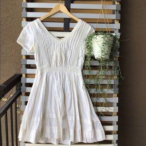 Anthropology Cream Lace Midi Dress
